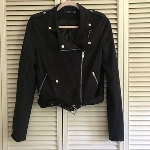Misguided faux suede biker jacket